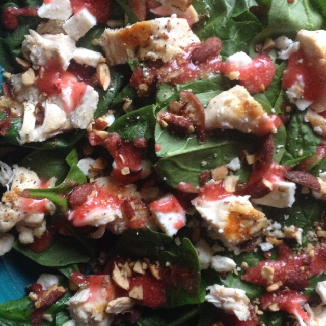 Spinach salad with chicken, feta, almonds, fresh strawberry dressing