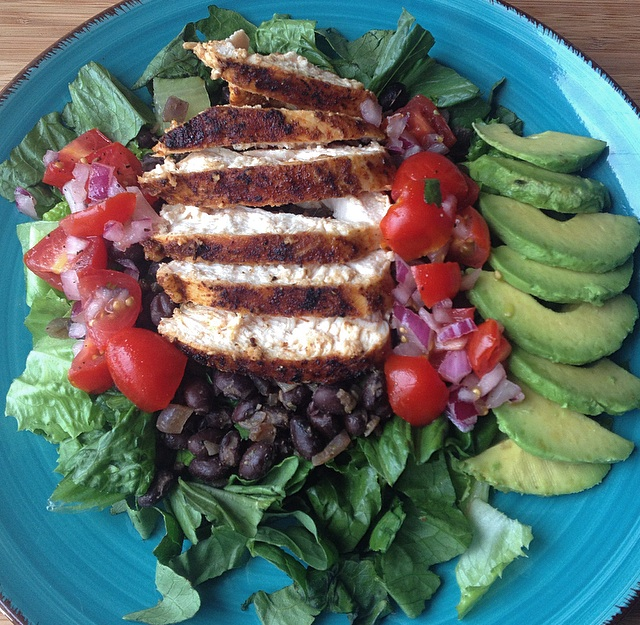 chipotle-rubbed chicken salad with pico de gallo & avocado