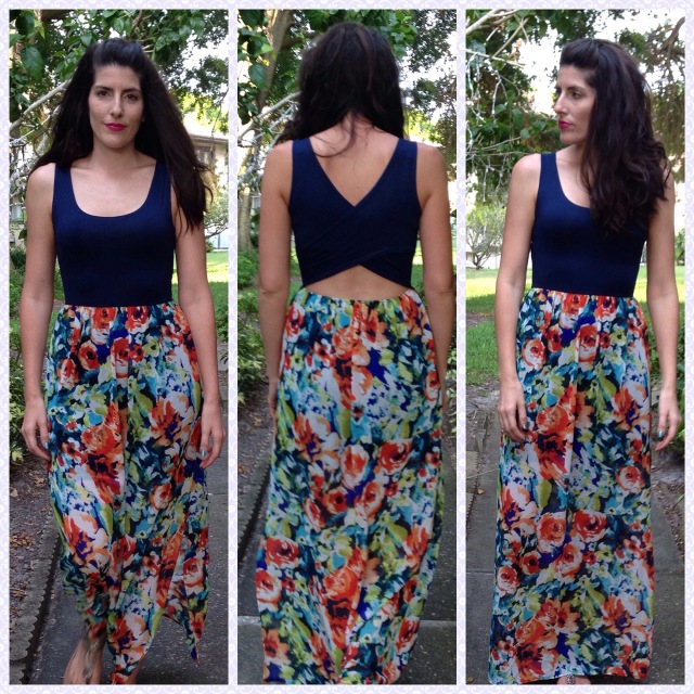 Navyprintmaxidress