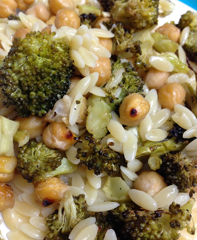 Roasted Chickpea & Broccoli Orzo Salad